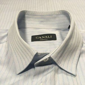 Canali Sky Blue Textured Rope Stripes Spread Shirt